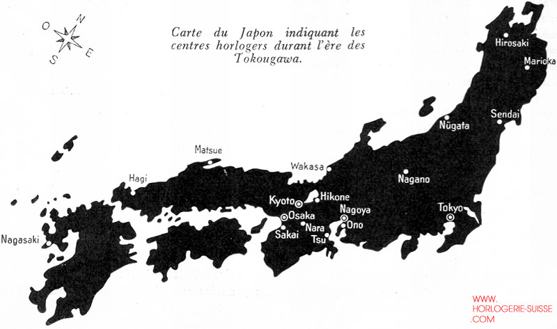 Map of Clockmaking Centres during Tokugawa Period